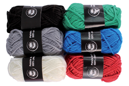 Pelotes de laine polyester, couleurs classiques - Set de 6 - Laine – 10doigts.fr