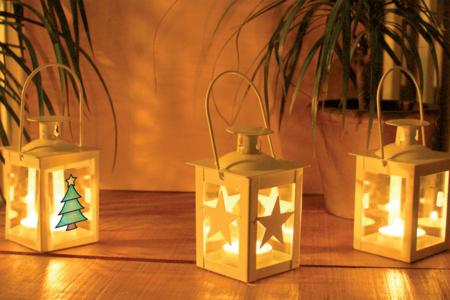 Lanterne étoile en verre et métal blanc - Supports en Métal – 10doigts.fr