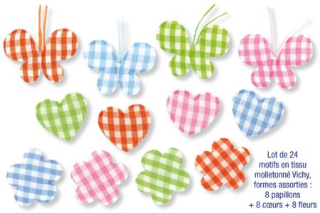 Motifs en tissu molletonné vichy - set de 24 pièces - Motifs en tissu molletonné – 10doigts.fr