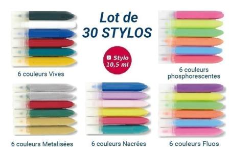 Stylos peinture acrylique 3D tout support - Set de 30 - Stylos peinture 3D – 10doigts.fr