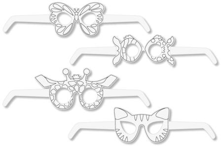 Lunettes animaux à décorer - Set de 4 - Masques – 10doigts.fr