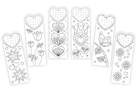 Set de 6 marque-pages à broder et colorier, designs assortis - Supports à broder – 10doigts.fr