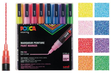 Marqueurs POSCA - couleurs pailletées - Marqueurs Posca – 10doigts.fr