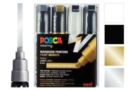 Marqueurs POSCA - Or, Argent, Noir, Blanc - Marqueurs Posca – 10doigts.fr