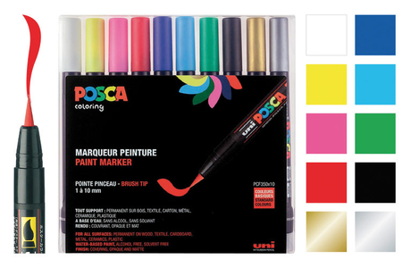 Marqueurs POSCA - 10 pointes pinceaux - Marqueurs Posca – 10doigts.fr
