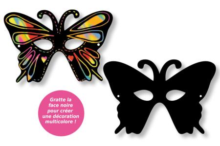Masques loups vénitiens en carte à gratter + accessoires - 4 pcs - Carte à gratter – 10doigts.fr