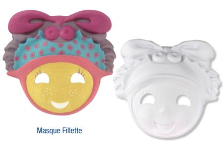 Masque fillette en papier comprimé recyclé blanc avec cordon élastique - Mardi gras, carnaval – 10doigts.fr