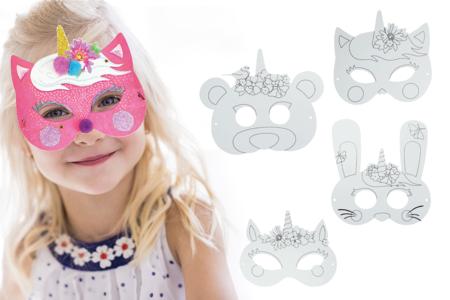 Masques licorne à décorer - Set de 4 - Mardi gras, carnaval – 10doigts.fr