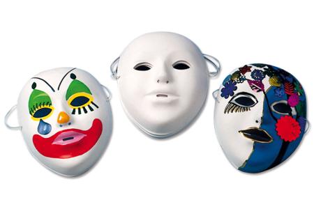 Masques à décorer avec marqueurs permanents et peinture acrylique - Carnaval, fêtes, masques – 10doigts.fr
