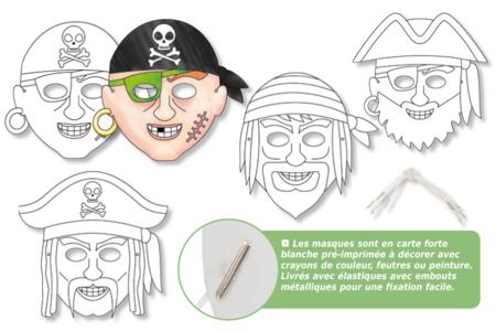 Masques pirates à décorer - Set de 4 - Mardi gras, carnaval – 10doigts.fr