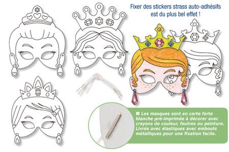 Set de 4 masques Princesses à décorer - Mardi gras, carnaval – 10doigts.fr