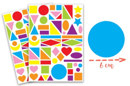 Maxi gommettes géométriques, formes assorties - 2 planches - Collage et gommettes – 10doigts.fr