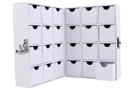 Meuble de rangement, en carton blanc, en forme de livre - Boîtes – 10doigts.fr