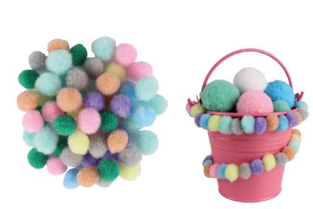 Mini-pompons, couleurs pastels - 200 pièces - Pompons – 10doigts.fr