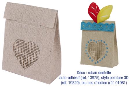Mini-sachets en lin - Lot de 4 - Supports textile – 10doigts.fr
