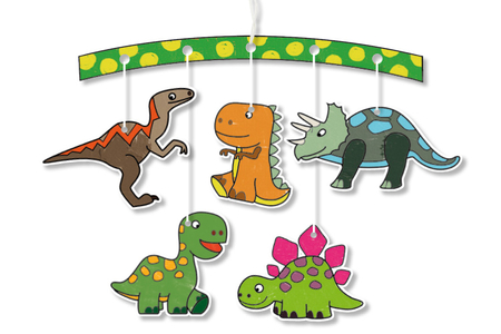 Mobiles  à colorier Dinosaures + Transports - Set de 4 - Mobiles en kit – 10doigts.fr