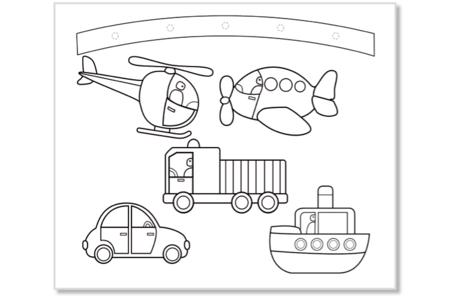 Mobiles  à colorier Dinosaures + Transports - Set de 4 - Support pré-dessiné – 10doigts.fr