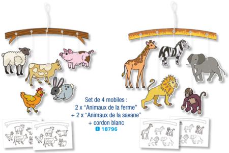 Mobiles  à colorier : 2 x animaux de la ferme + 2 x animaux de la savane - Set de 4 - Support pré-dessiné – 10doigts.fr