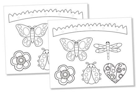Mobiles  à colorier : Nature - Set de 4 - Support pré-dessiné – 10doigts.fr