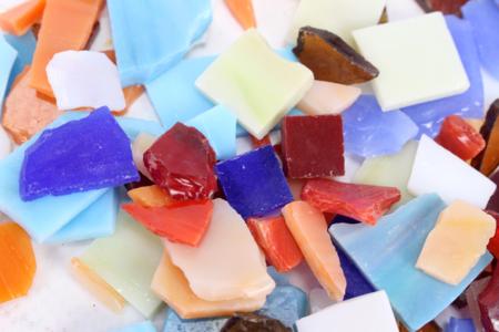 Set d'environ 180 mosaïques en verre, couleurs marbrées assorties - Mosaïques verre – 10doigts.fr