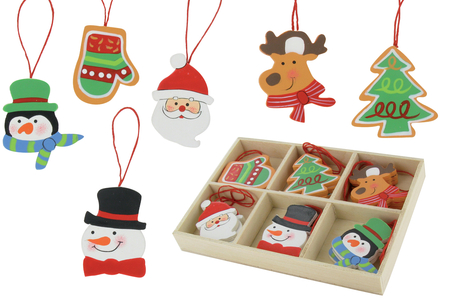 Coffret de motifs de Noël en bois peint - Set de 12 - Motifs peint – 10doigts.fr