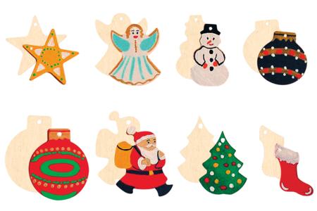 Motifs de Noël en bois naturel - Set de 8 - Motifs brut – 10doigts.fr