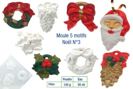 Moule 4 motifs de Noël avec trous pour suspension - Moules – 10doigts.fr