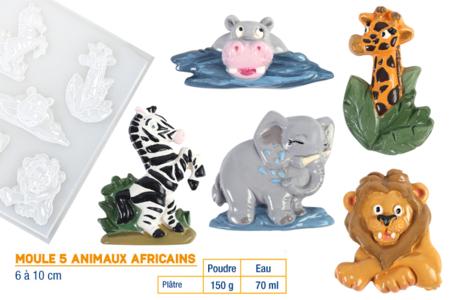 Moule 5 animaux de la savane - Moules – 10doigts.fr