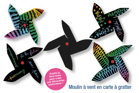 Moulin à vent en carte à gratter + 1 grattoir - Activités enfantines – 10doigts.fr