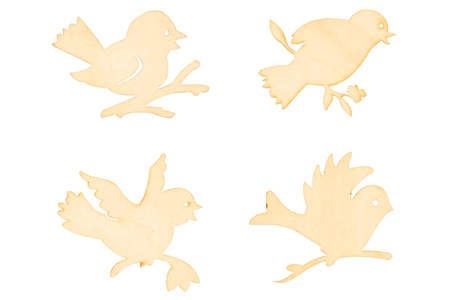 Oiseaux en bois naturel assortis - Set de 8 - Motifs brut – 10doigts.fr