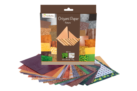 Papier Origami Nature - 60 feuilles - Origami – 10doigts.fr
