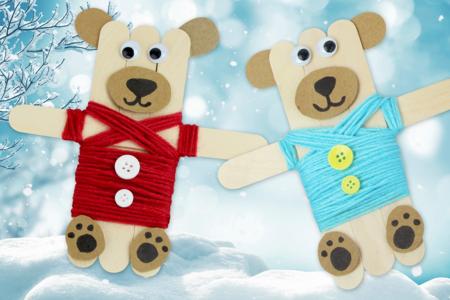 Magnets oursons avec des bâtonnets en bois - Noël – 10doigts.fr