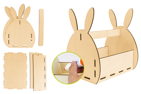 Panier lapin en bois à monter - Paniers de Pâques – 10doigts.fr