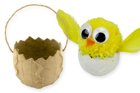 Petit panier oeuf de Pâques brisé en papier mâché - Supports de fêtes en carton – 10doigts.fr