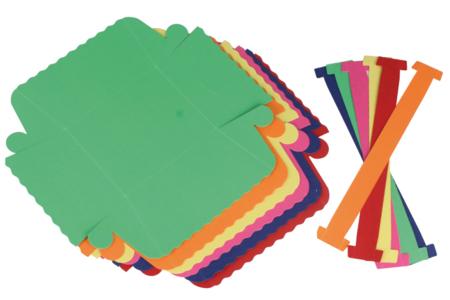 Paniers colorés en carte forte - 6 pièces - Noël, Pâques, carnaval – 10doigts.fr