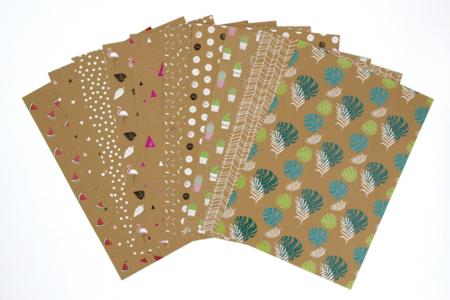 Cartes en papier kraft à motifs - Set de 20 - Assortiment papiers divers – 10doigts.fr