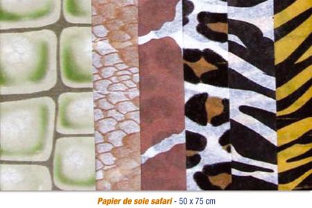 Feuilles de papier de soie Safari 6 motifs assortis - 24 feuilles - Papiers de soie – 10doigts.fr