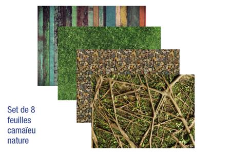 Papiers pour vernis-collage : 8 feuilles Camaïeu Nature - Vernis-Collage – 10doigts.fr