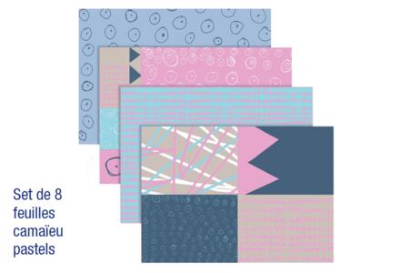 Papiers pour vernis-collage : 8 feuilles Camaïeu Pastels - Papier à vernis-coller – 10doigts.fr