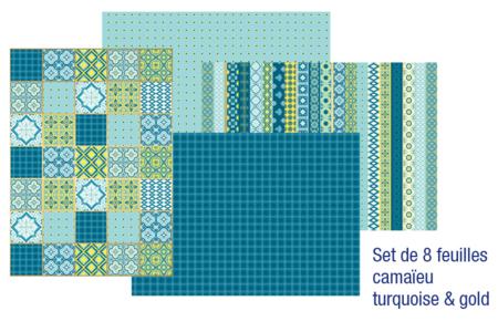 Papiers pour vernis-collage : 8 feuilles Camaïeu Turquoise & Gold - Papier à vernis-coller – 10doigts.fr
