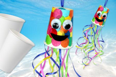 Pieuvre multicolore avec un gobelet - Activités enfantines – 10doigts.fr