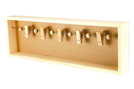 Cadre pêle-mêle bois et 5 pinces - Cadres photos – 10doigts.fr
