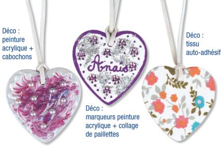 Colliers cœur à décorer - Kit pour 6 colliers - Colliers – 10doigts.fr