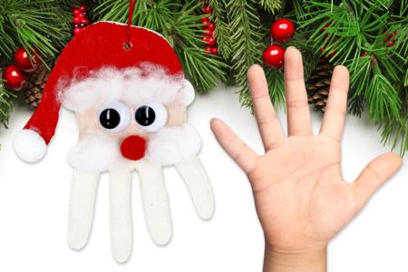 Suspension père Noël empreinte de main - Noël – 10doigts.fr