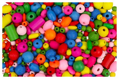 Perles en bois, couleurs et formes assorties - Perles en bois – 10doigts.fr