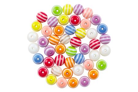 Perles rondes bayadère en acrylique - Set de 58 - Perles acrylique – 10doigts.fr