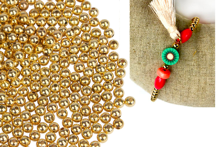Perles rondes en plastique métallisé or - 1500 perles - Perles en plastique – 10doigts.fr