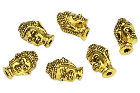 Perles Buddha en métal doré - 6 perles - Perles Lithothérapie – 10doigts.fr