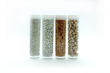 Rocailles  Or et Argent - 4 tubes - Perles de rocaille – 10doigts.fr