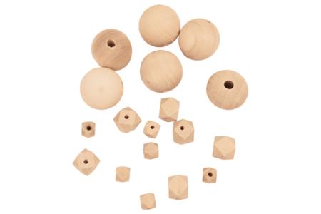 Perles assorties en bois naturel - 18 perles - Perles en bois – 10doigts.fr